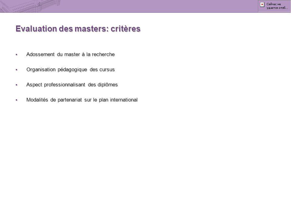 Evaluation des masters: critères
