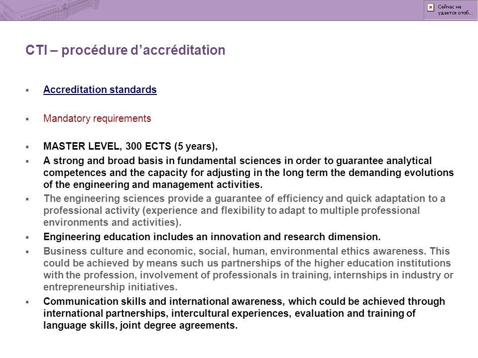 CTI – procédure d'accréditation