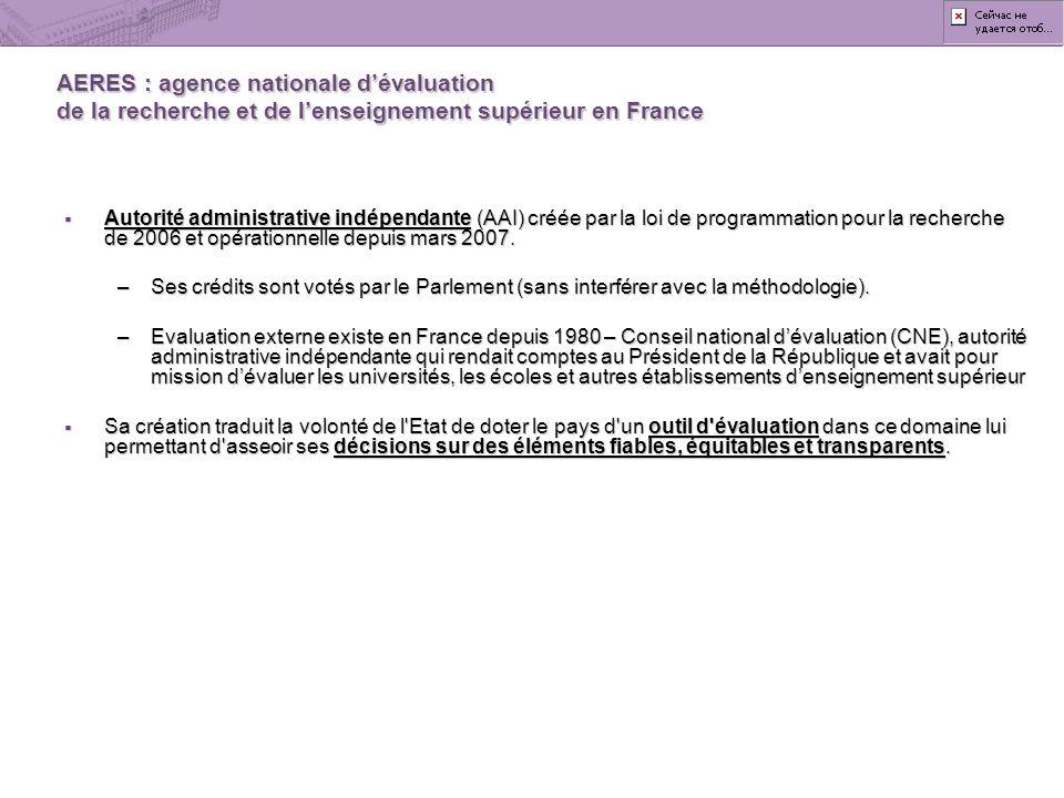 AERES : agence nationale d'évaluation de la recherche et de l'enseignement supérieur en France