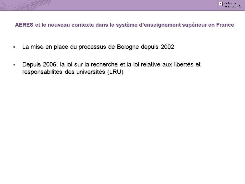 La mise en place du processus de Bologne depuis 2002