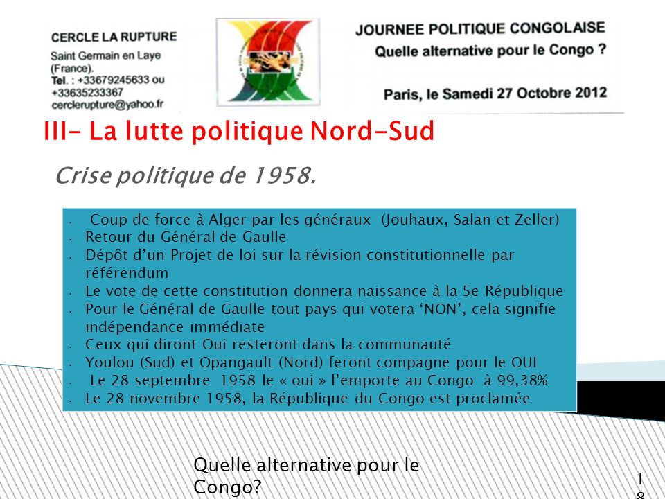 III- La lutte politique Nord-Sud