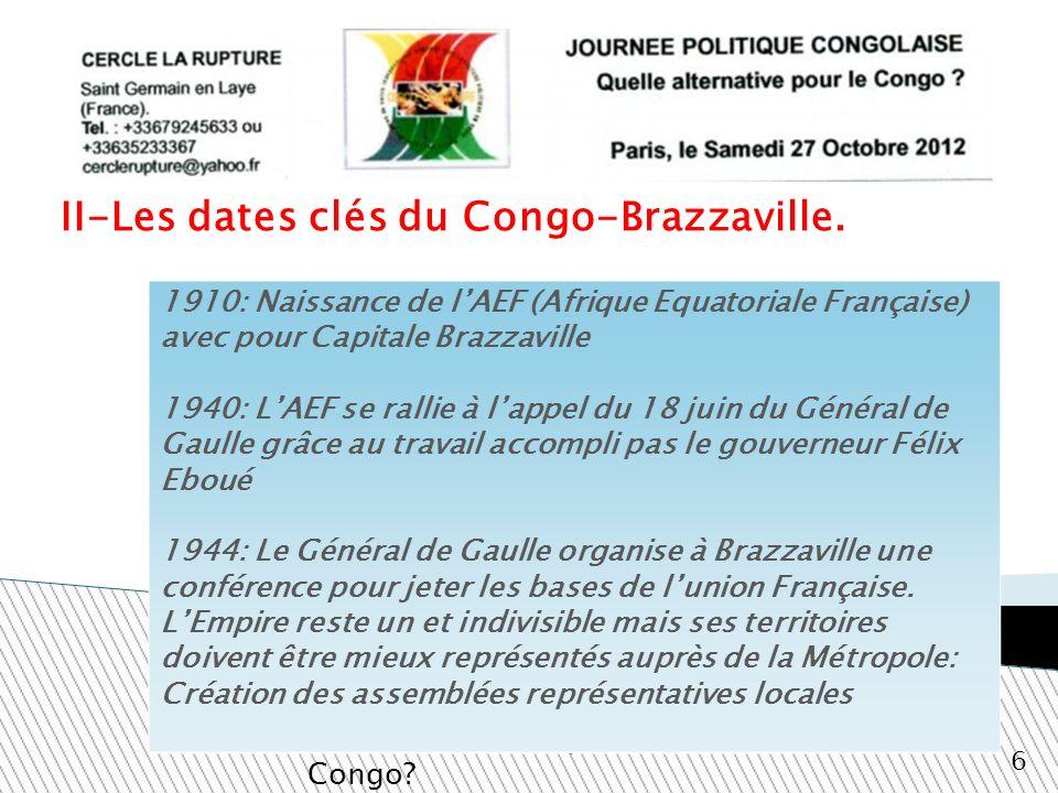 II-Les dates clés du Congo-Brazzaville.