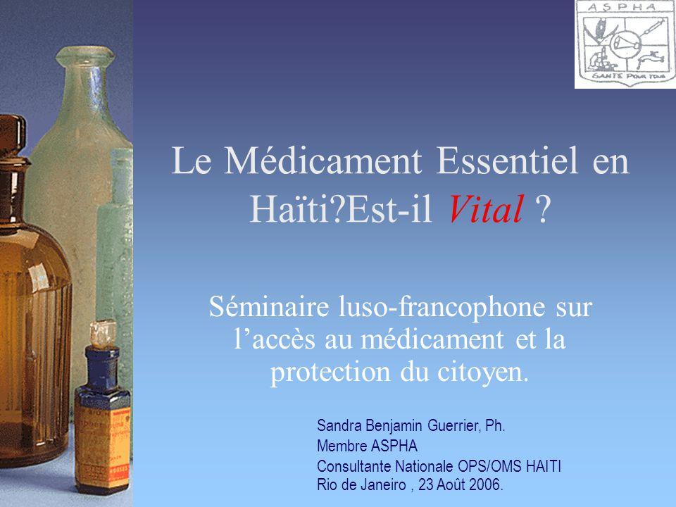 Le Médicament Essentiel en Haïti Est-il Vital