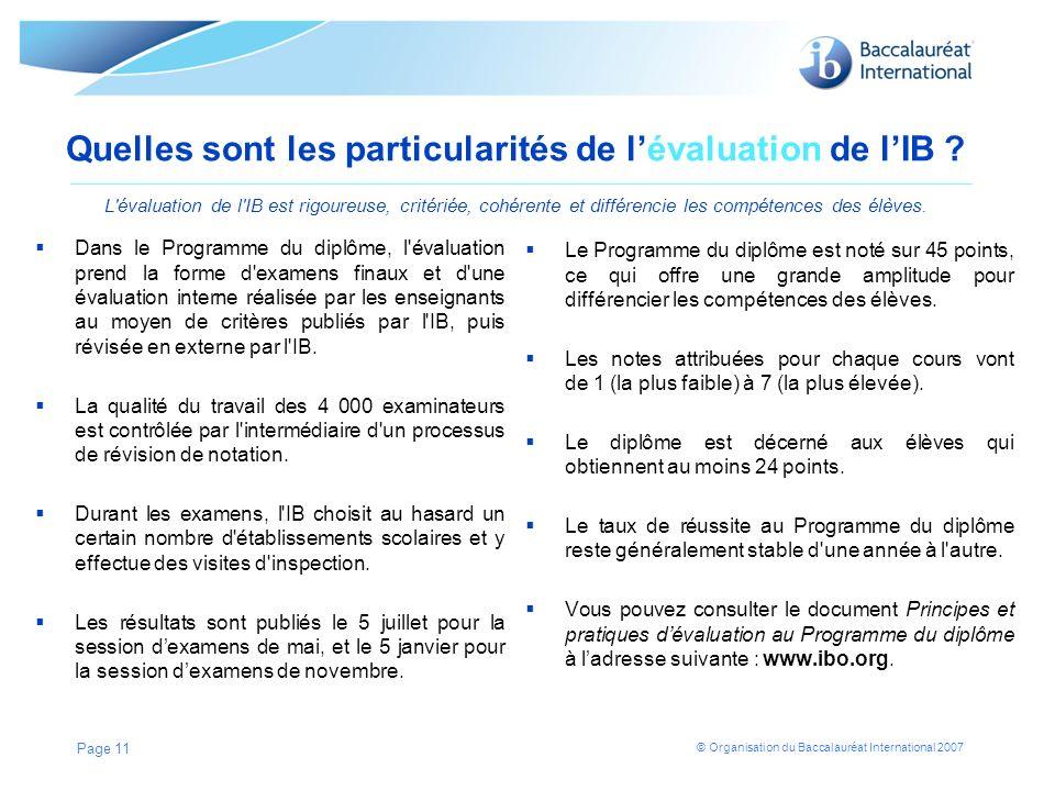 Quelles sont les particularités de l'évaluation de l'IB