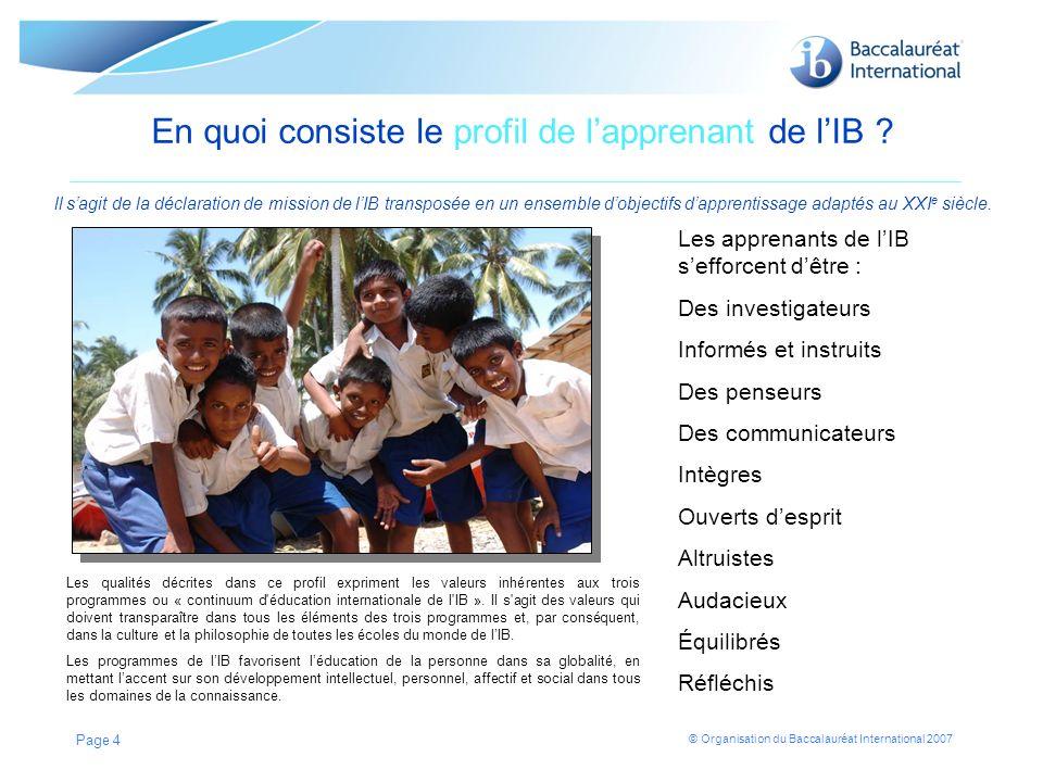En quoi consiste le profil de l'apprenant de l'IB