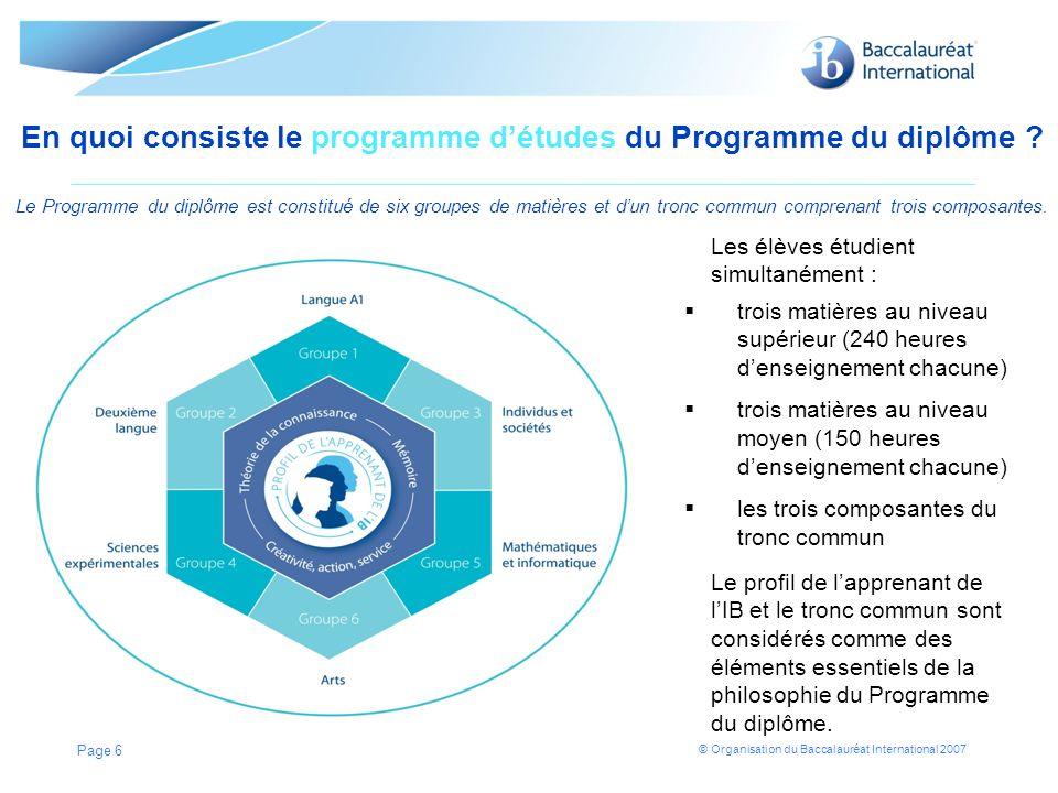 En quoi consiste le programme d'études du Programme du diplôme