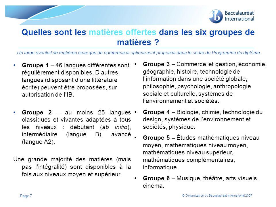 Quelles sont les matières offertes dans les six groupes de matières