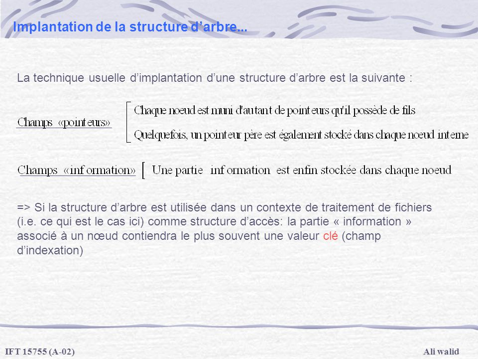 Implantation de la structure d'arbre...