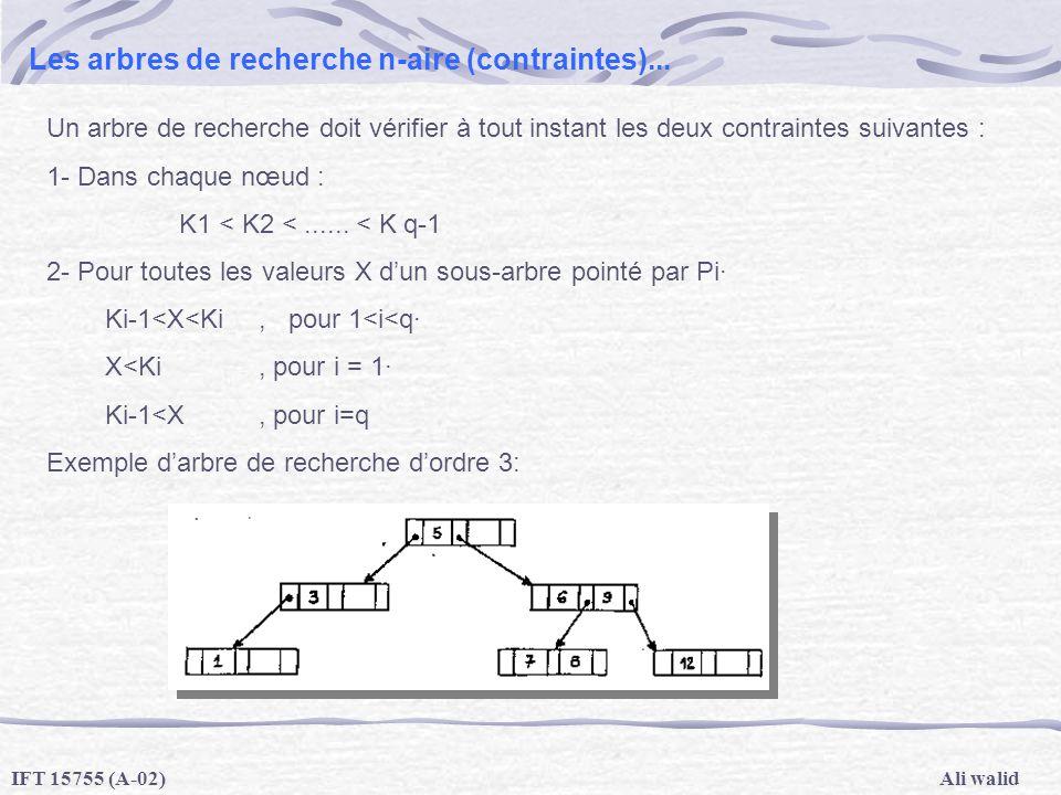 Les arbres de recherche n-aire (contraintes)...