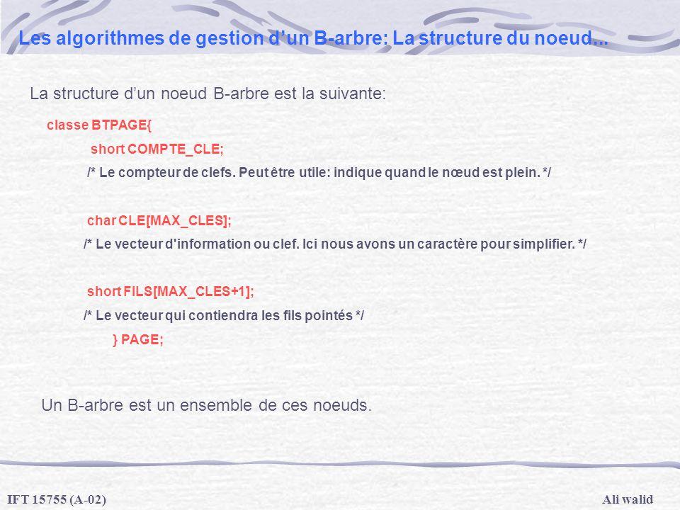 Les algorithmes de gestion d'un B-arbre: La structure du noeud...