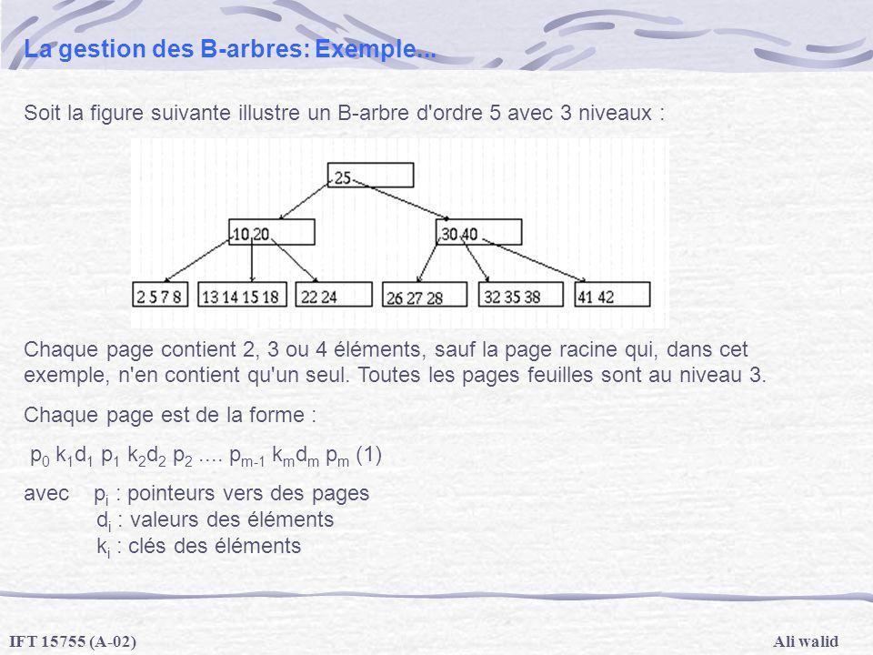 La gestion des B-arbres: Exemple...