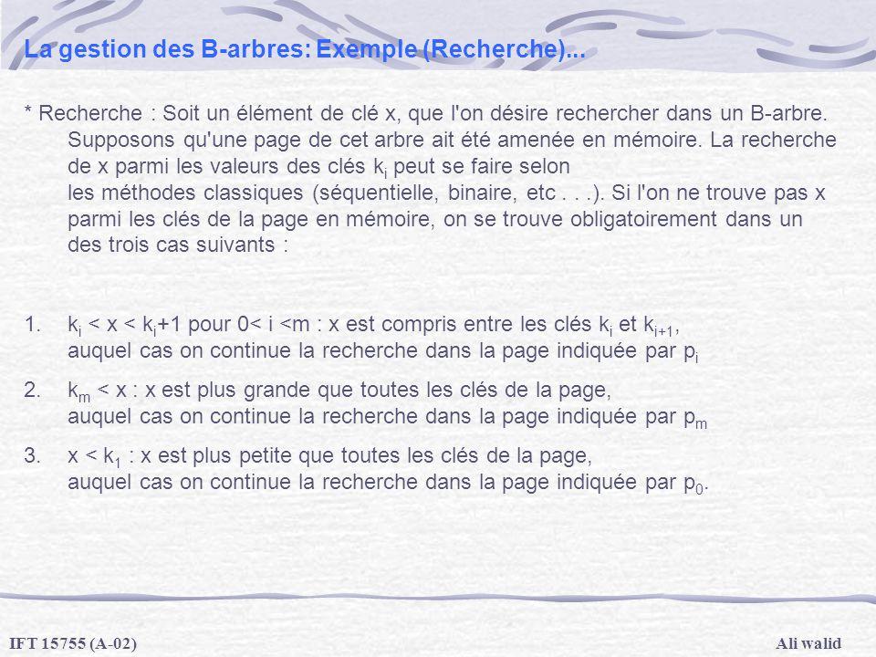 La gestion des B-arbres: Exemple (Recherche)...