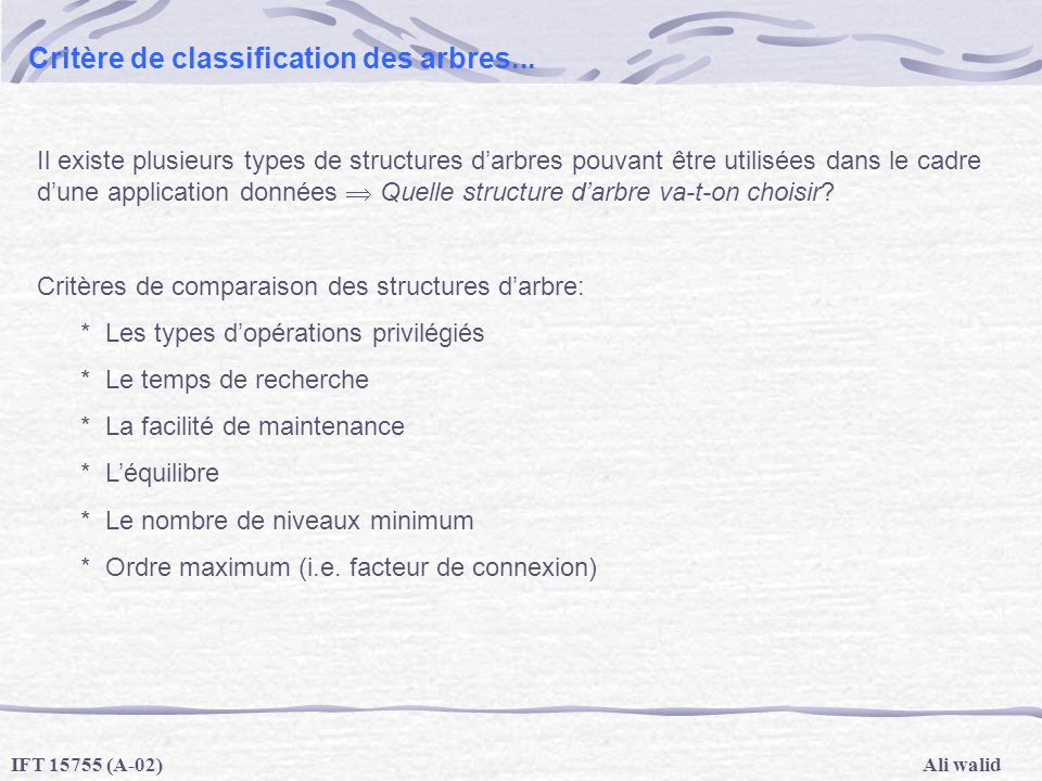 Critère de classification des arbres...