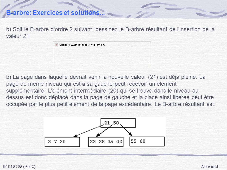 B-arbre: Exercices et solutions...