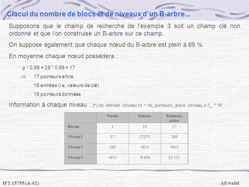 Clacul du nombre de blocs et de niveaux d'un B-arbre...