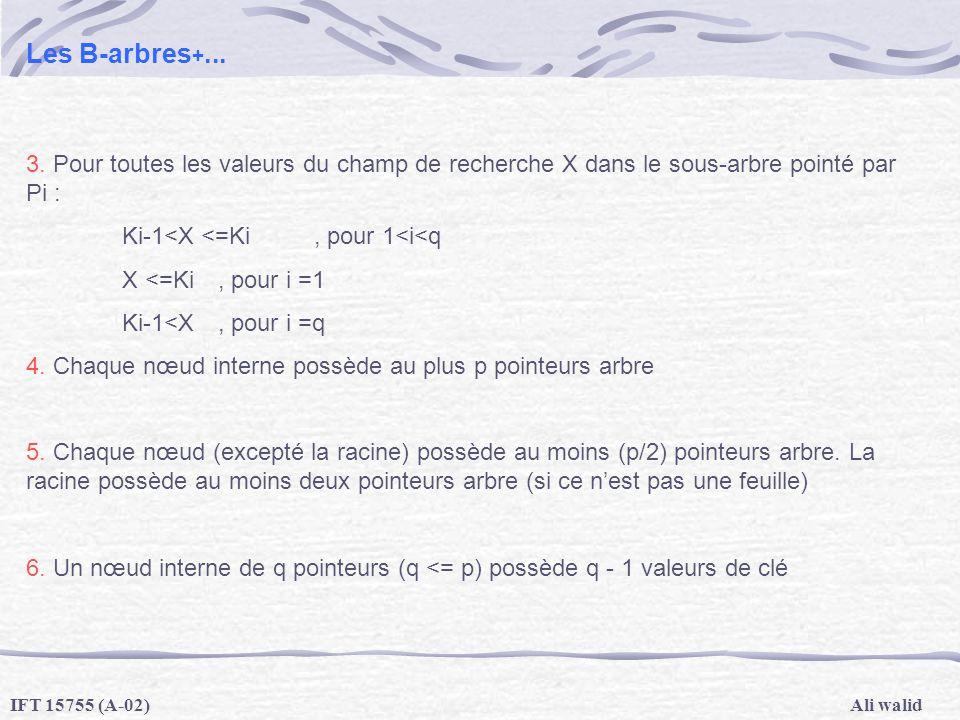 Les B-arbres+... 3. Pour toutes les valeurs du champ de recherche X dans le sous-arbre pointé par Pi :