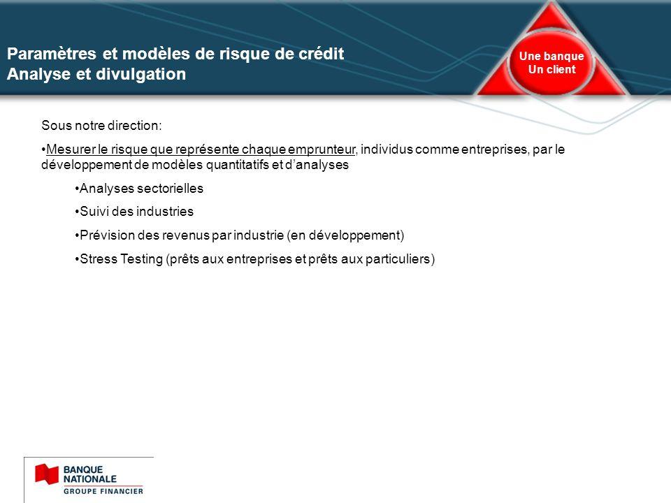 Paramètres et modèles de risque de crédit Analyse et divulgation