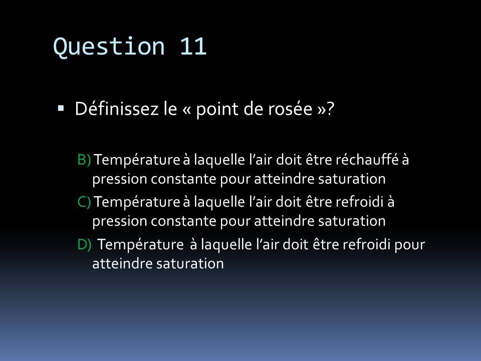 Question 11 Définissez le « point de rosée »