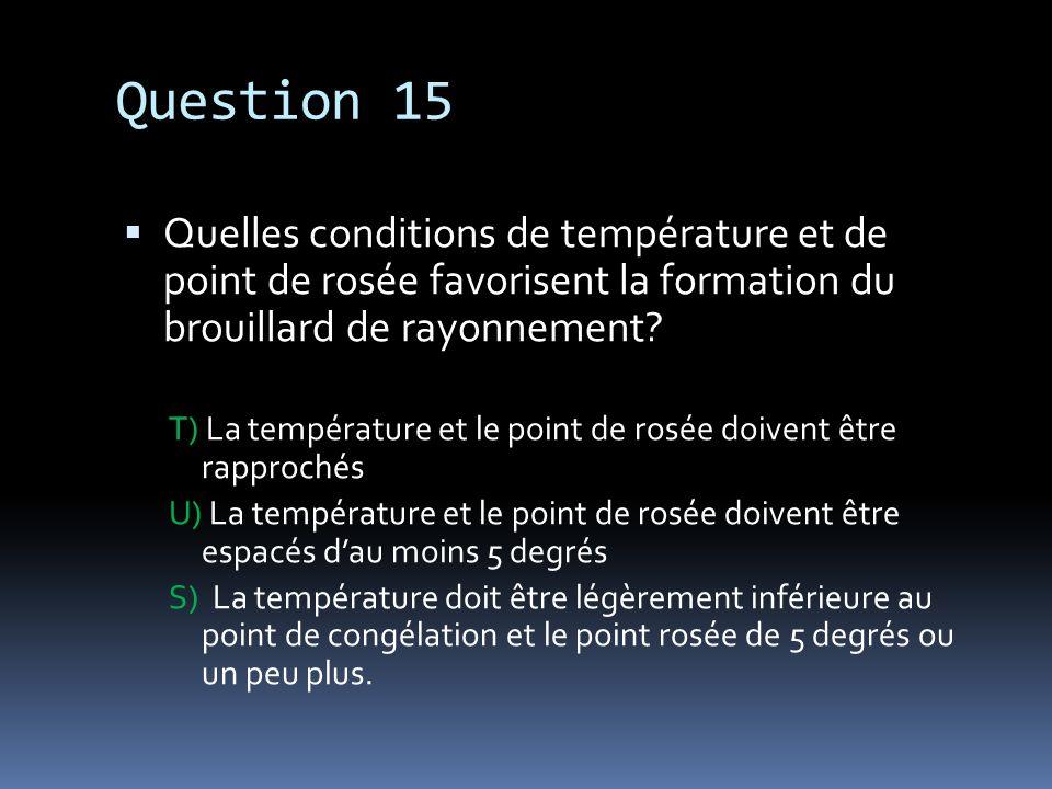 Question 15 Quelles conditions de température et de point de rosée favorisent la formation du brouillard de rayonnement