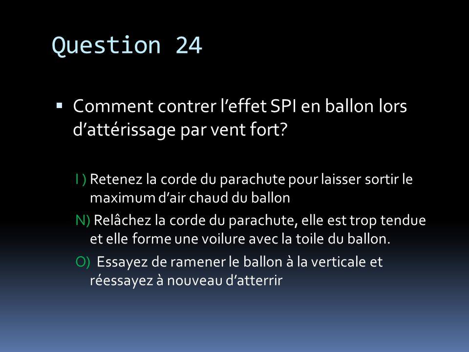 Question 24 Comment contrer l'effet SPI en ballon lors d'attérissage par vent fort