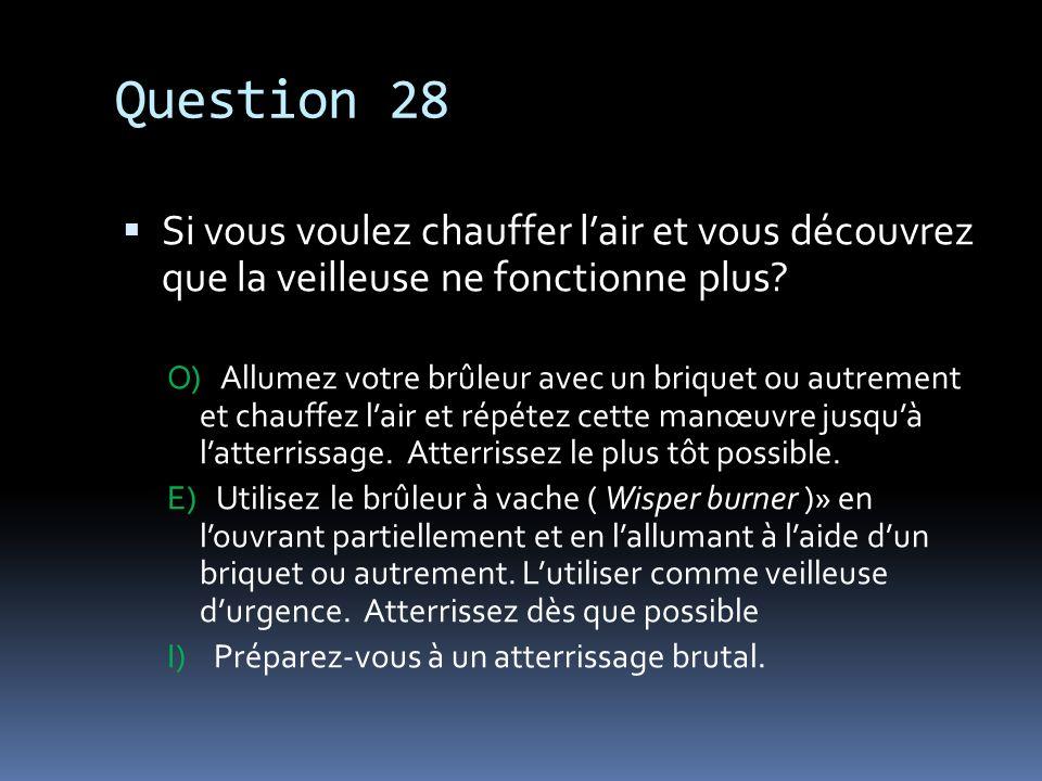 Question 28 Si vous voulez chauffer l'air et vous découvrez que la veilleuse ne fonctionne plus