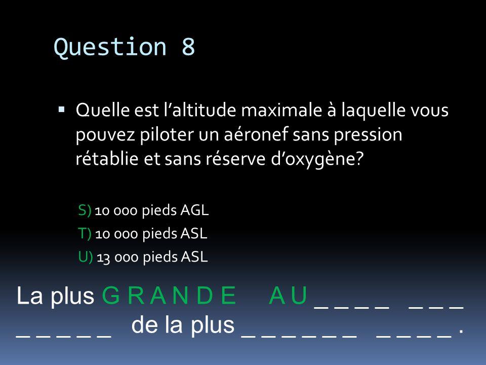Question 8 La plus G R A N D E A U _ _ _ _ _ _ _