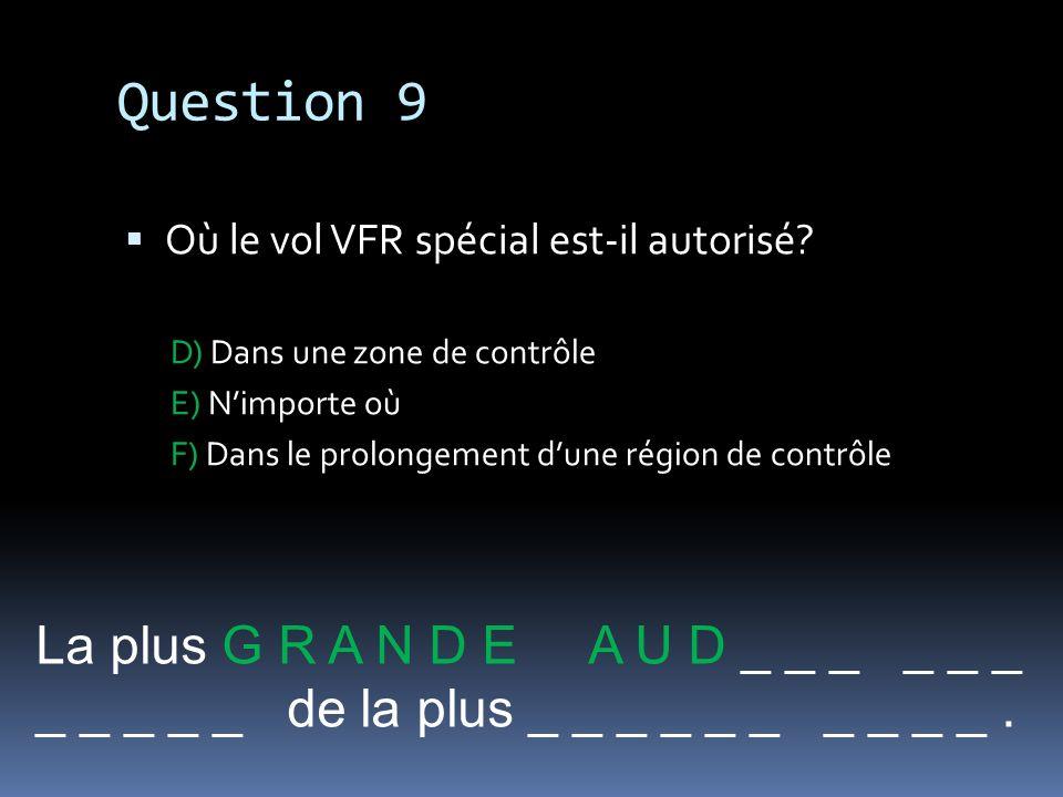 Question 9 La plus G R A N D E A U D _ _ _ _ _ _