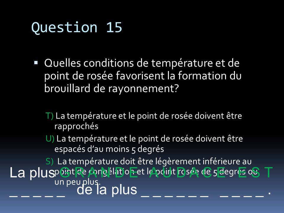 Question 15 La plus G R A N D E A U D A C E E S T