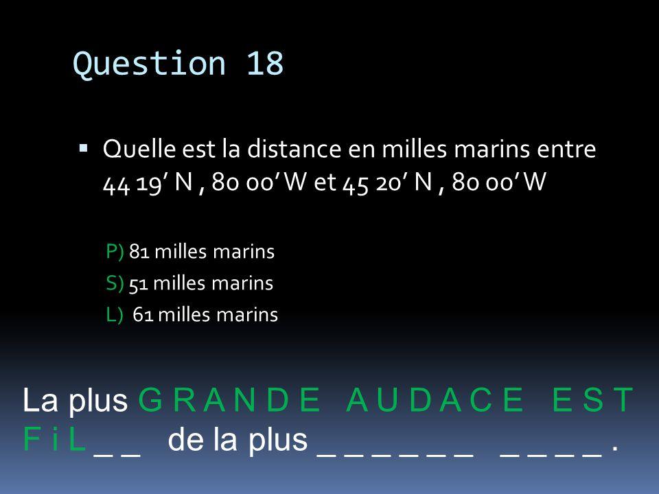 Question 18 La plus G R A N D E A U D A C E E S T