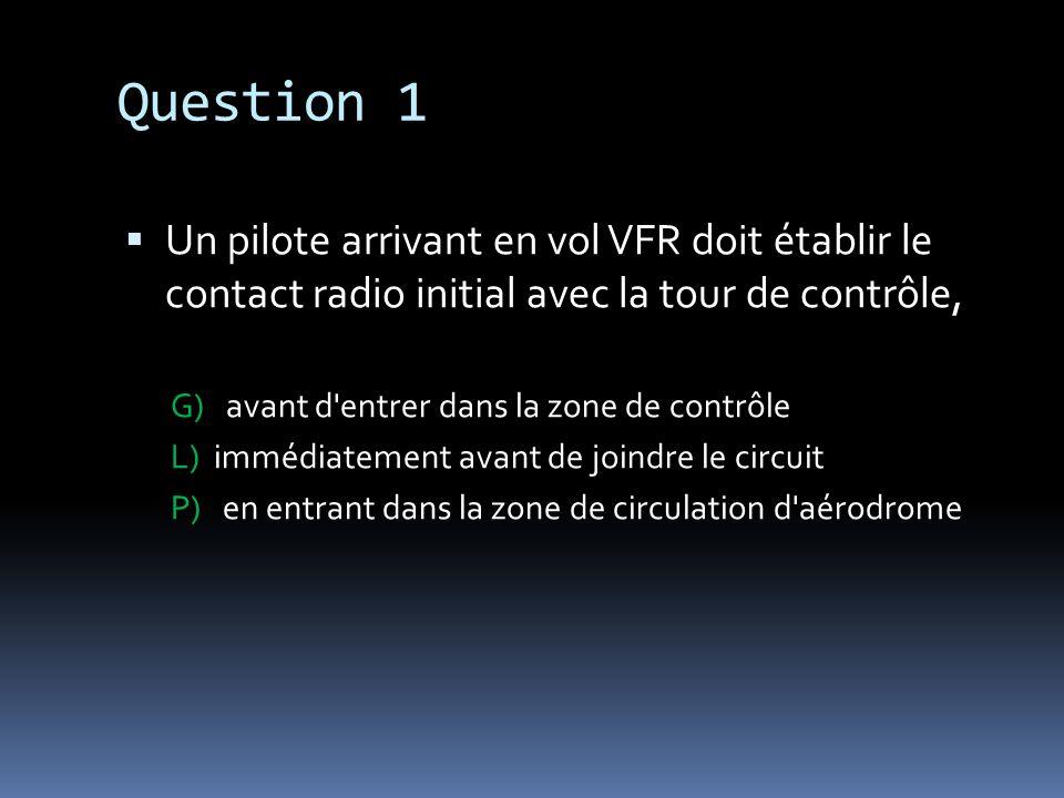 Question 1Un pilote arrivant en vol VFR doit établir le contact radio initial avec la tour de contrôle,