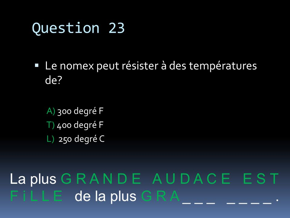 Question 23 La plus G R A N D E A U D A C E E S T