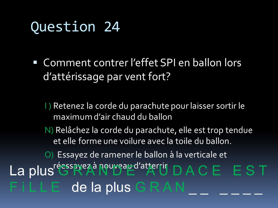 Question 24 La plus G R A N D E A U D A C E E S T
