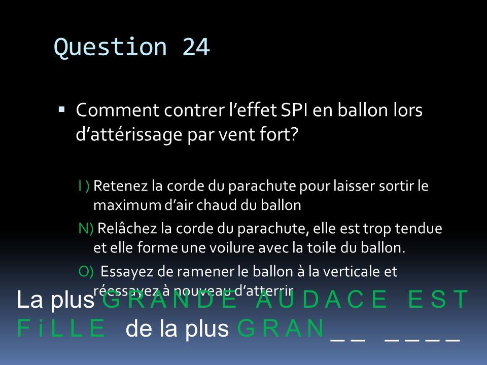 Question 24 La plus G R A N D E A U D A C E E S T