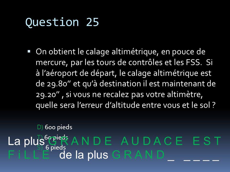 Question 25 La plus G R A N D E A U D A C E E S T