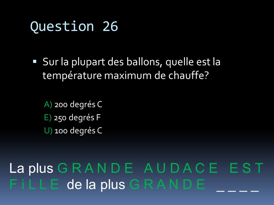 Question 26 La plus G R A N D E A U D A C E E S T