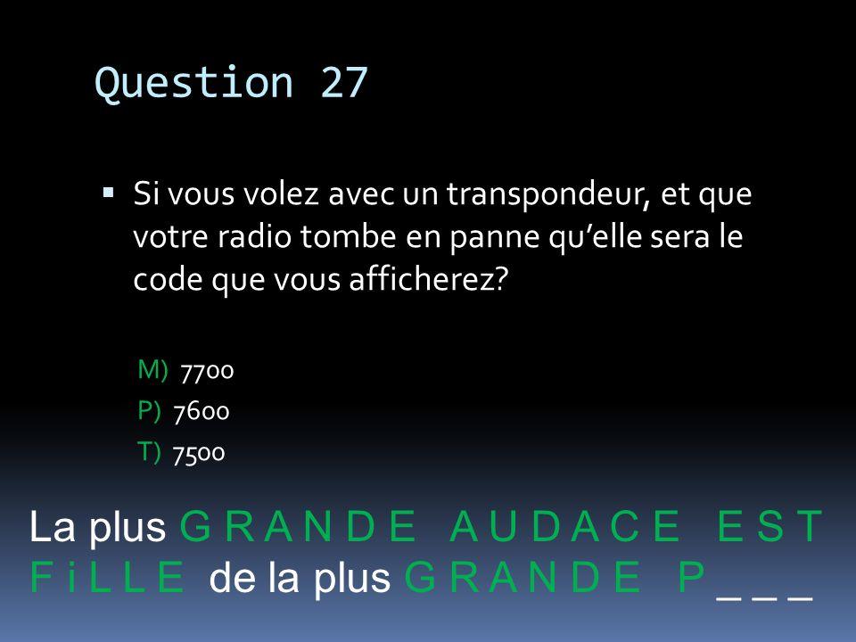 Question 27 La plus G R A N D E A U D A C E E S T