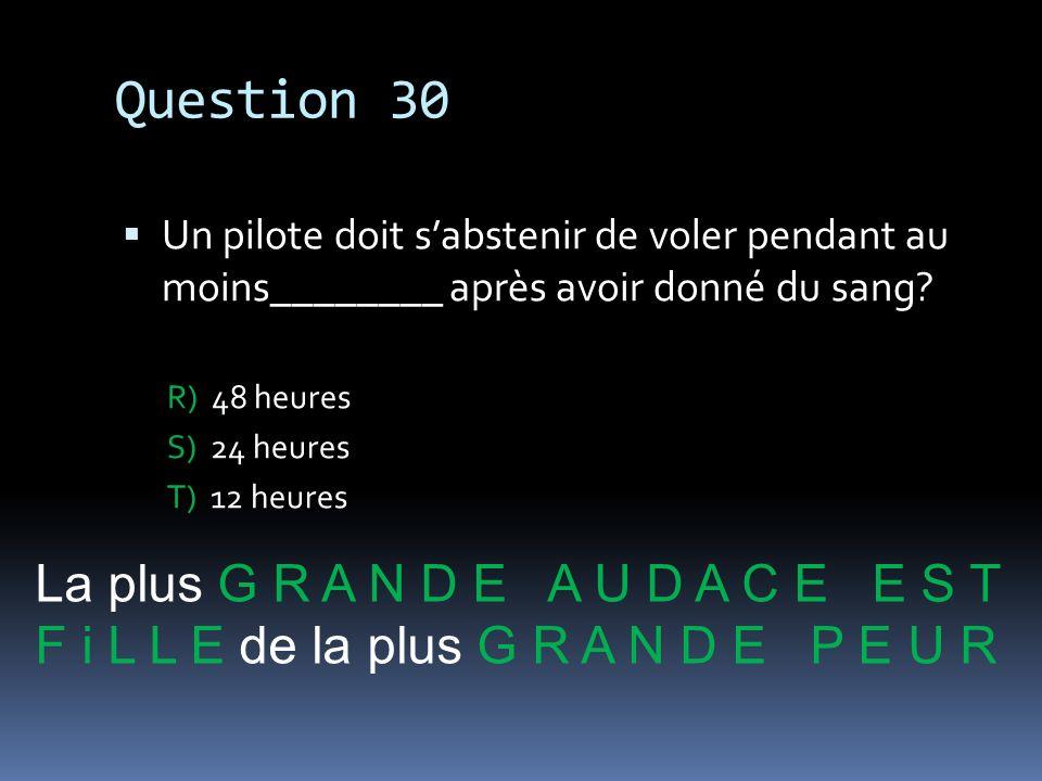 Question 30 La plus G R A N D E A U D A C E E S T