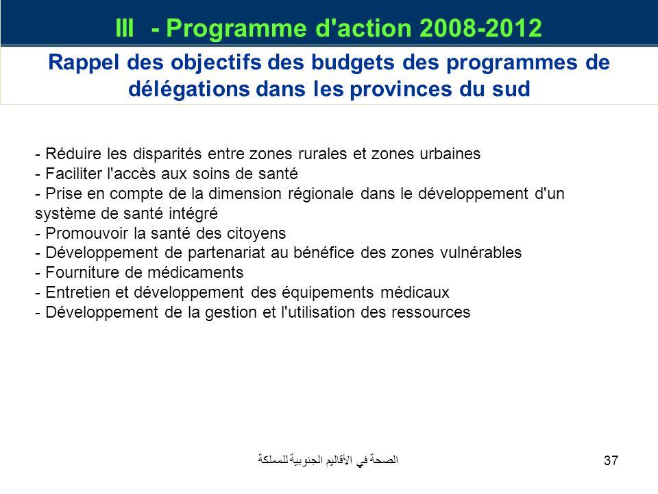 III - Programme d action 2008-2012