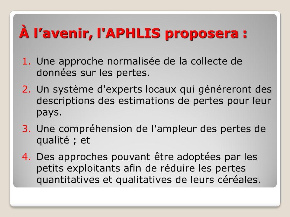 À l'avenir, l APHLIS proposera :