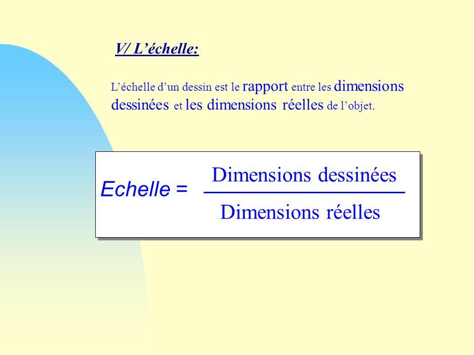 Dimensions dessinées Echelle = Dimensions réelles V/ L'échelle: