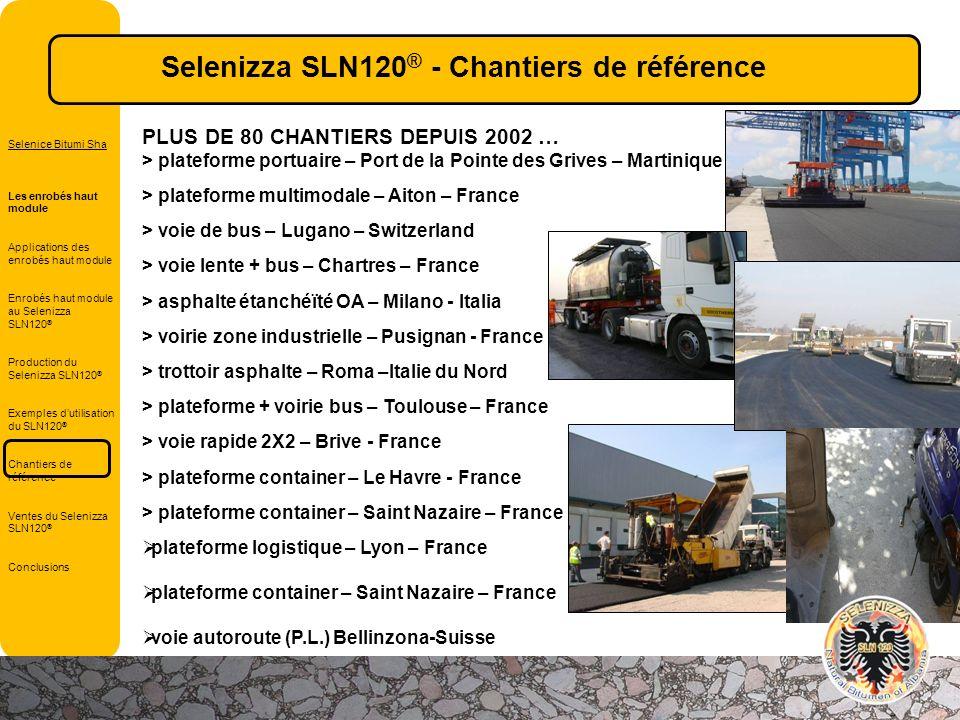 Selenizza SLN120® - Chantiers de référence
