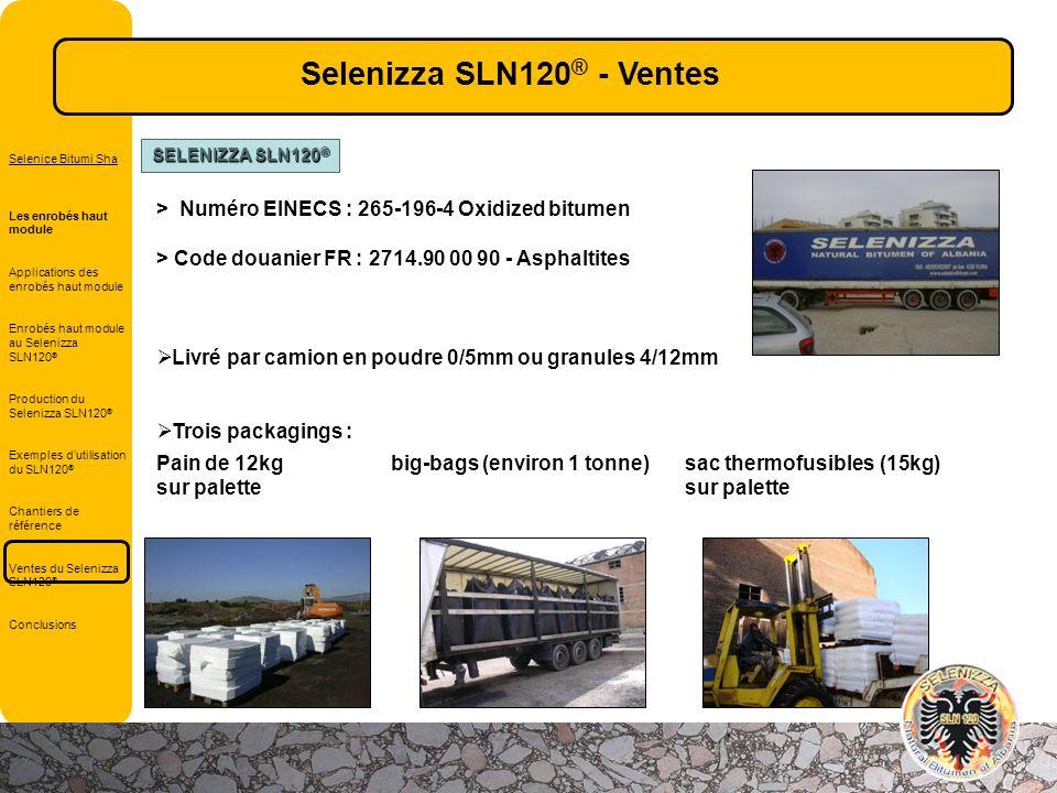 Selenizza SLN120® - Ventes