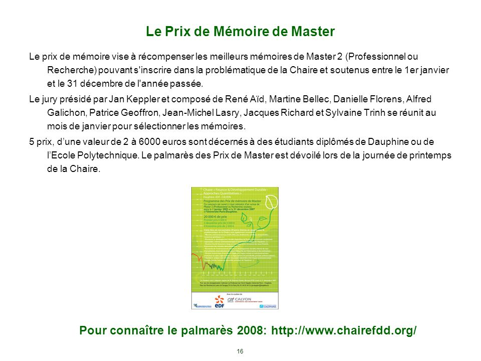 Le Prix de Mémoire de Master