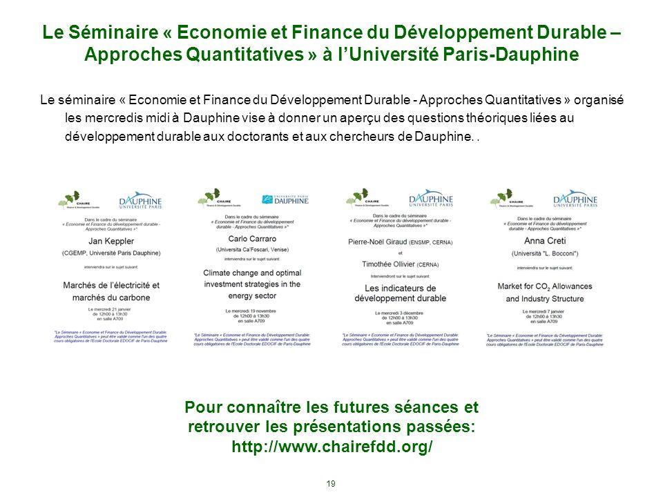 Le Séminaire « Economie et Finance du Développement Durable – Approches Quantitatives » à l'Université Paris-Dauphine