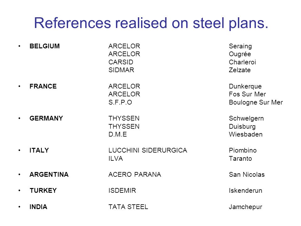 References realised on steel plans.