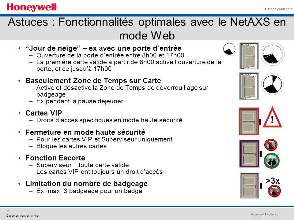 Astuces : Fonctionnalités optimales avec le NetAXS en mode Web