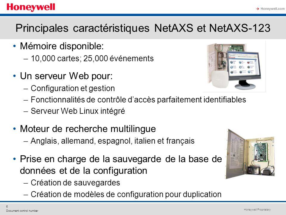 Principales caractéristiques NetAXS et NetAXS-123