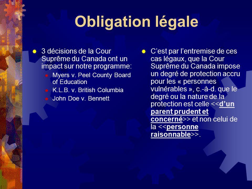 Obligation légale 3 décisions de la Cour Suprême du Canada ont un impact sur notre programme: Myers v. Peel County Board of Education.