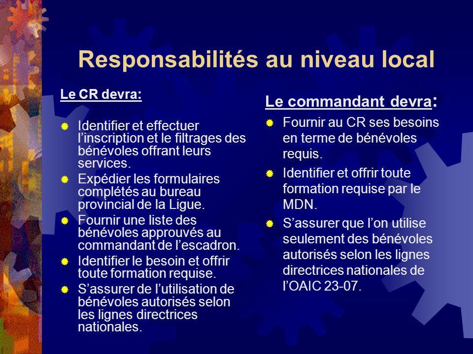 Responsabilités au niveau local
