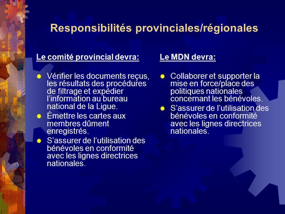 Responsibilités provinciales/régionales
